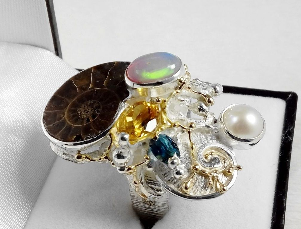 Ring #374291, sterling silver, gold, ammonite, opal, citrine, blue topaz, pearl, where to buy artisan soldered and reticulated mixed metal jewellery, Gregory Pyra Piro artisan soldered and reticulated jewellery