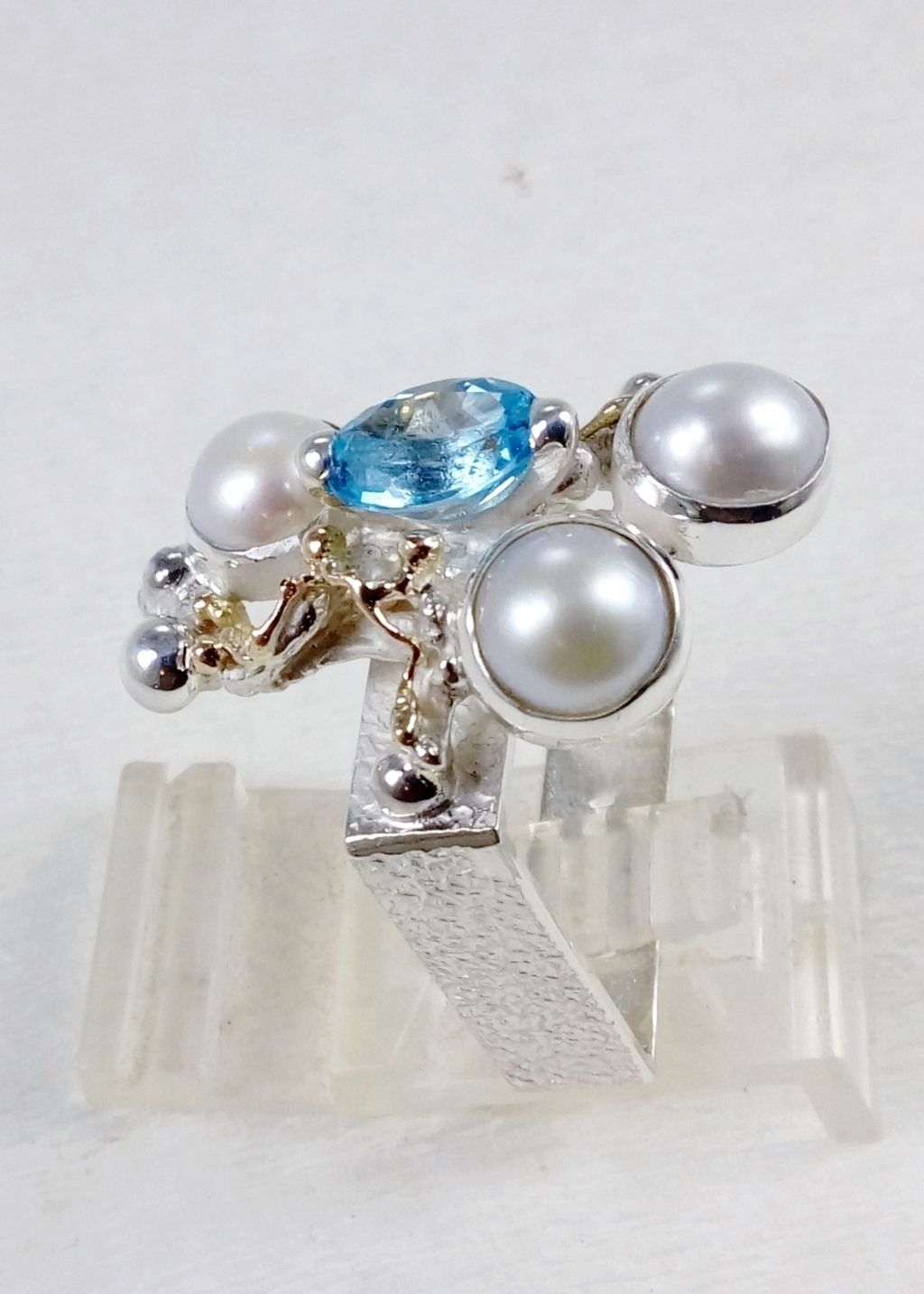 gregory pyra piro square ring #8391, sterling silver and 14k gold artisan jewellery, ring with blue topaz and pearl, sterling silver and 14 karat gold ring