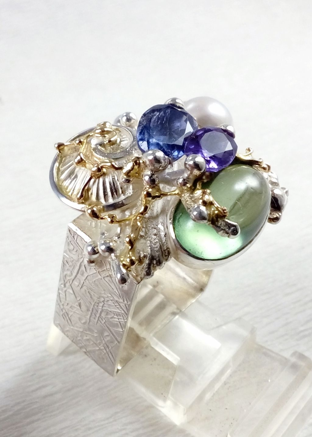 gregory pyra piro, square ring 4821, sterling silver, 14 karat gold, fluorite, amethyst, iolite, pearl, one of a kind, original handcrafted