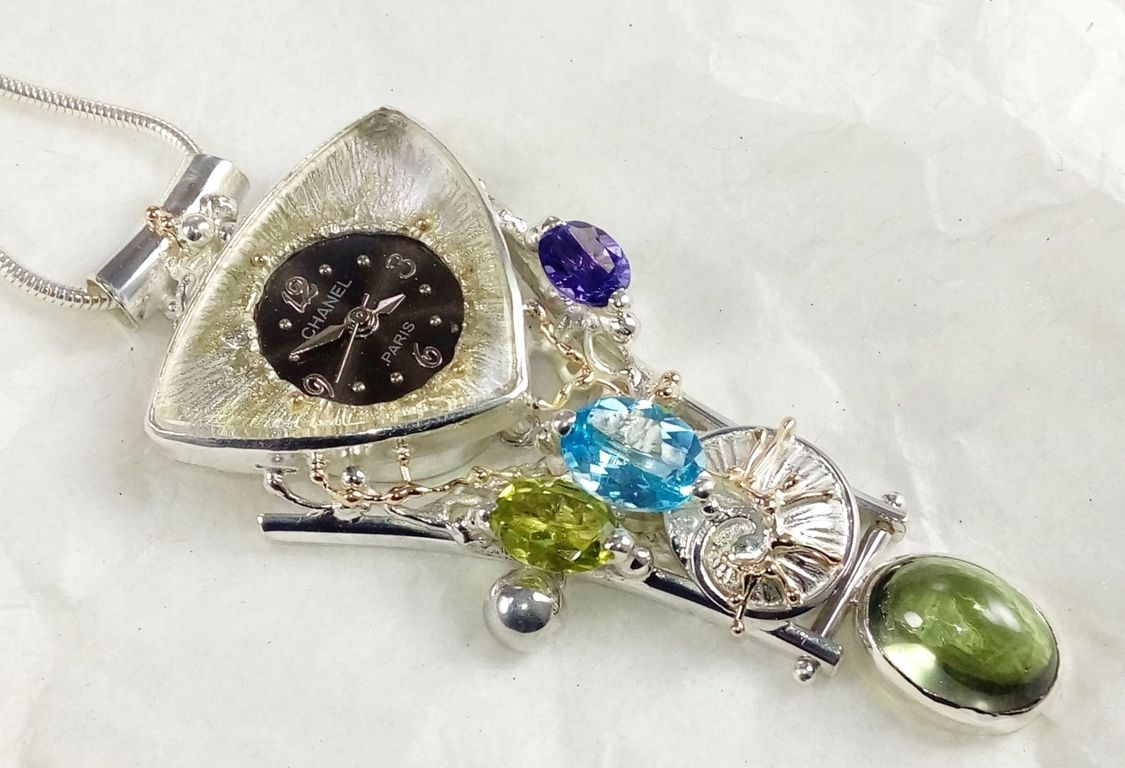 Pendant with Watch Movement #749361, sterling silver, gold, peridot, blue topaz, amethyst and, fluorite, original handmade, one of a kind jewellery