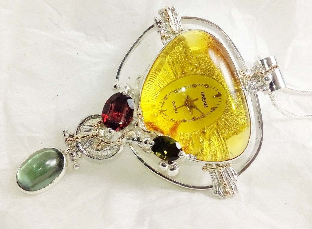 Pendant with Watch Movement #837264, sterling silver, gold, amber, fluorite, garnet, and green tourmaline, original handmade, one of a kind jewellery