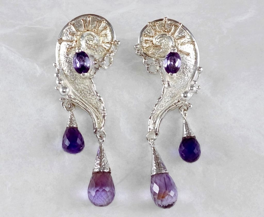 where to buy artisan reticulated mixed metal earrings, artisan reticulated and soldered earrings #7824, sterling silver, gold, amethyst, where to buy artisan soldered and reticulated mixed metal jewellery, Gregory Pyra Piro artisan soldered and reticulated jewellery